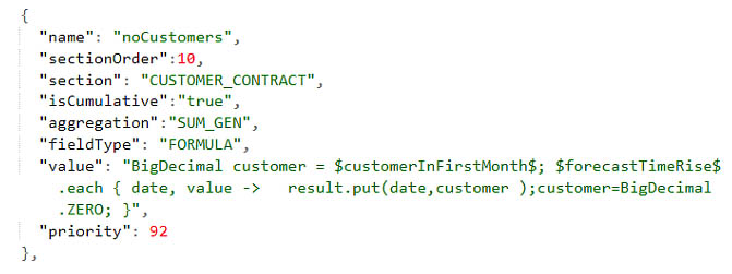 Input field example from the model