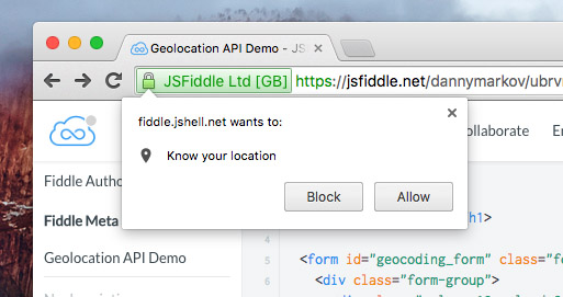 Geolocation notification in browser