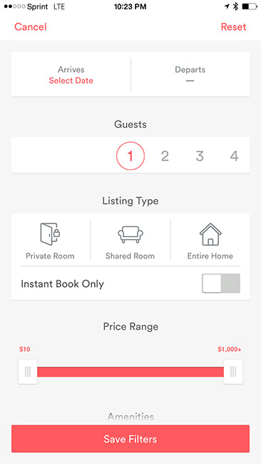 Form in AirBnB app