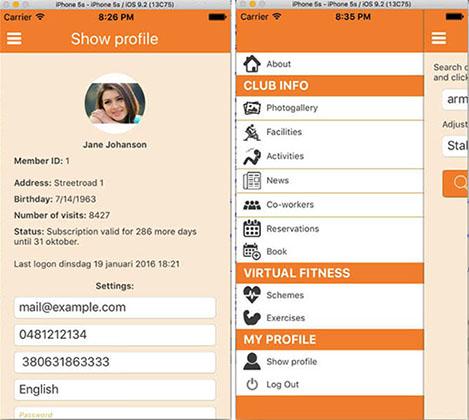 MyClub App - mobile app for fitness club members