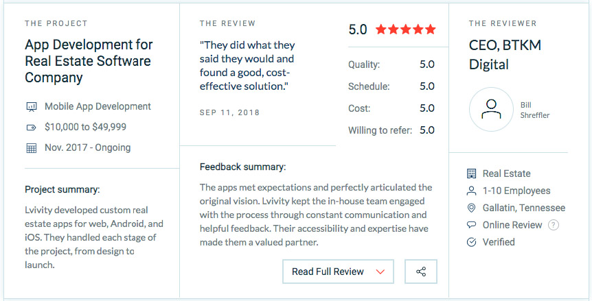Company reviews on Clutch.co