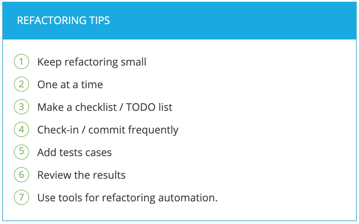 Refactoring tips and checklist