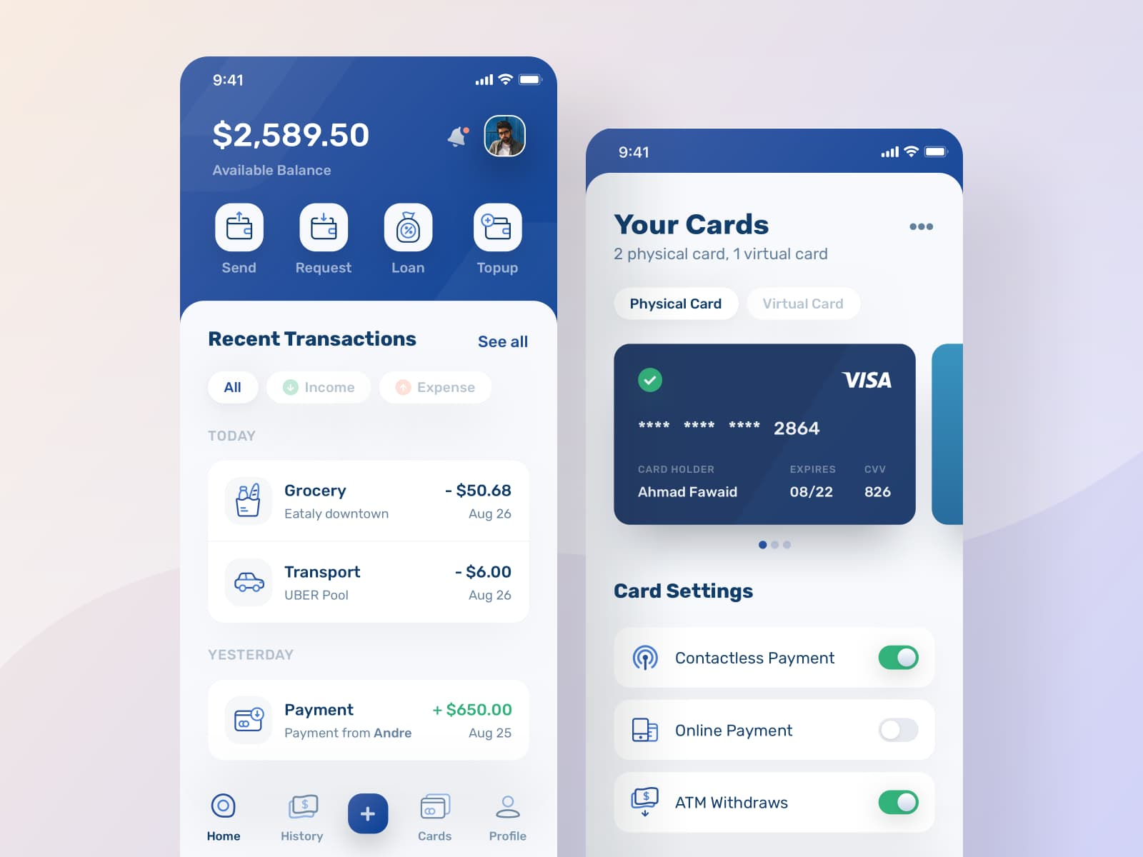Personal Finance App Dashboard - Bills and Expenses