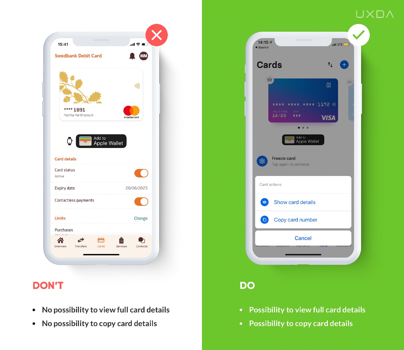 Good UX Design for Financial App Example]