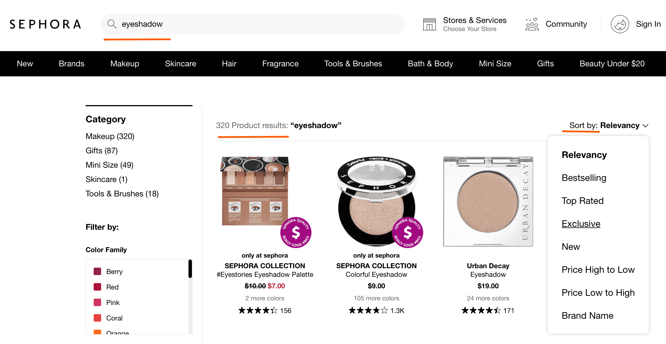 Ecommerce search filters