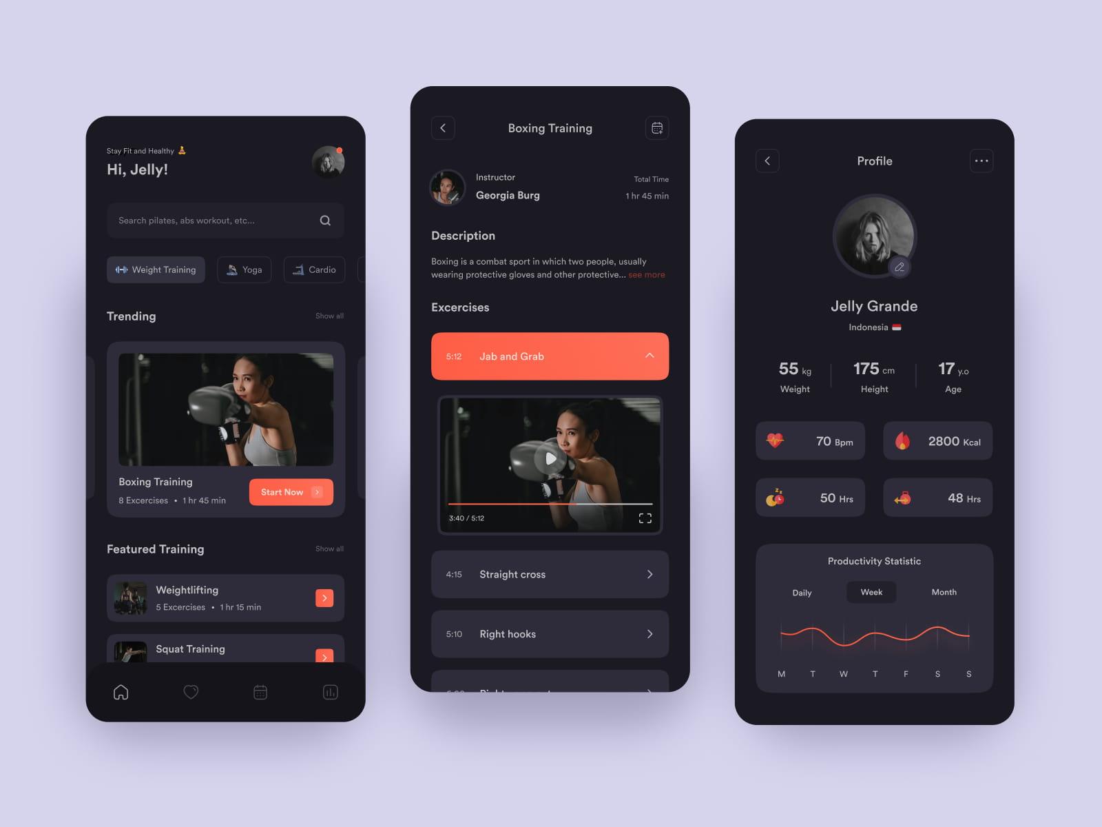 User profile in fitness app