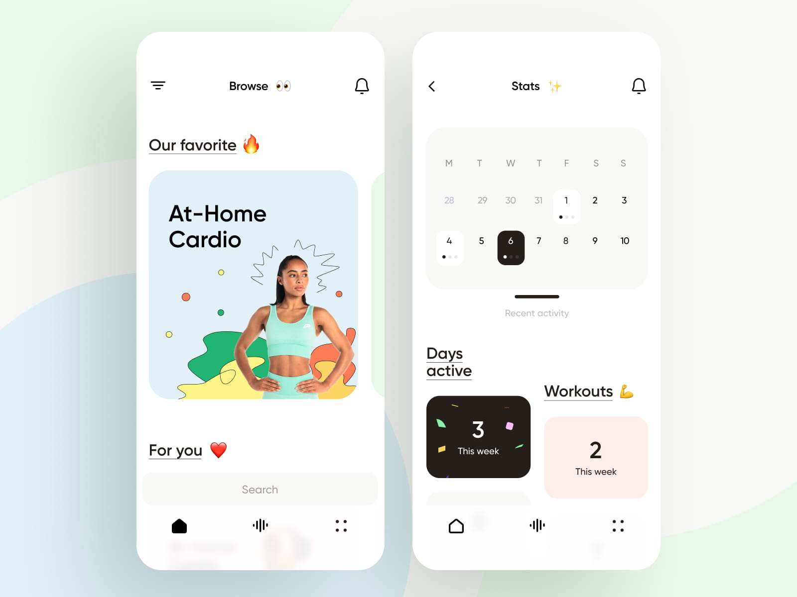 Workout calendar scheduling in mobile app