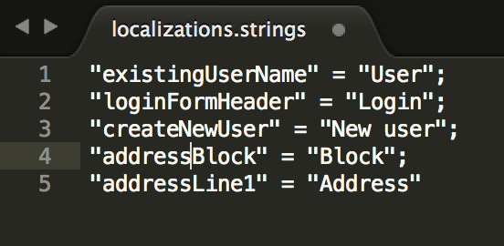 Localization strings in the code
