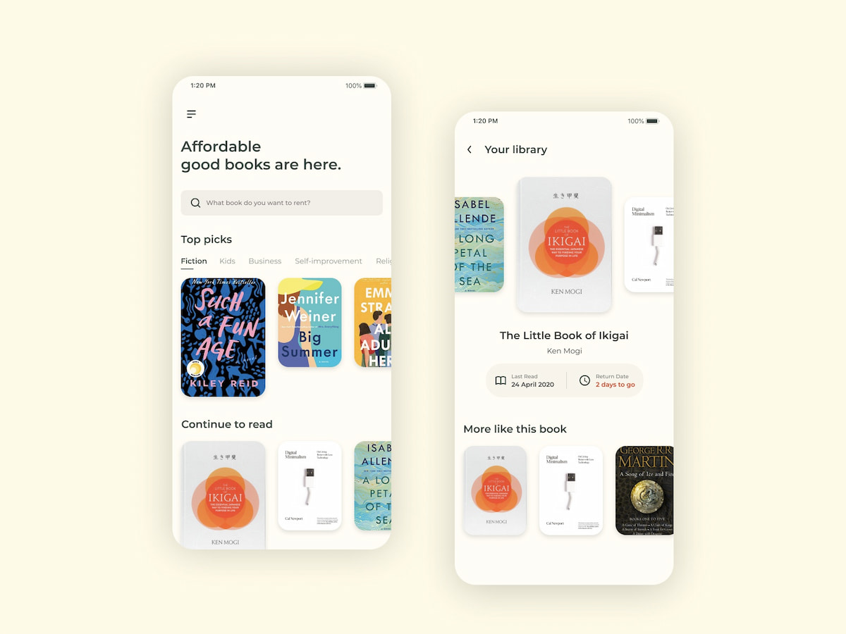 Book Rental App Idea example moqup